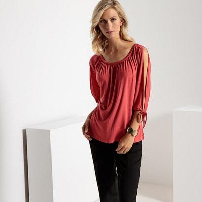 T-shirt com decote à barco, mangas curtas com racha T-shirt com decote à barco, mangas curtas com racha ANNE WEYBURN