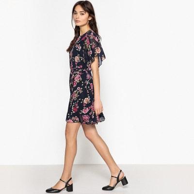 Short Floral Print Flared Skater Dress BEST MOUNTAIN