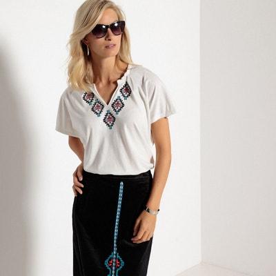 T-shirt col v, manches courtes, coton et modal T-shirt col v, manches courtes, coton et modal ANNE WEYBURN