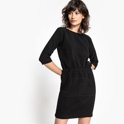 Unifarbenes Kleid mit 3/4-Ärmeln, halblang, gerade Schnittform Unifarbenes Kleid mit 3/4-Ärmeln, halblang, gerade Schnittform SCHOOL RAG