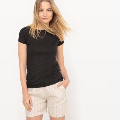 Basic-Leinenshirt, runder Ausschnitt, kurze Ärmel La Redoute Collections