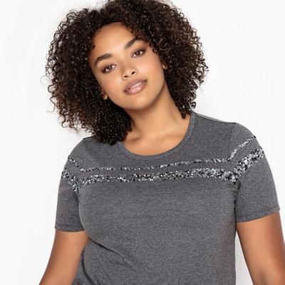 T-Shirt mit rundem Ausschnitt und Pailletten T-Shirt mit rundem Ausschnitt und Pailletten CASTALUNA