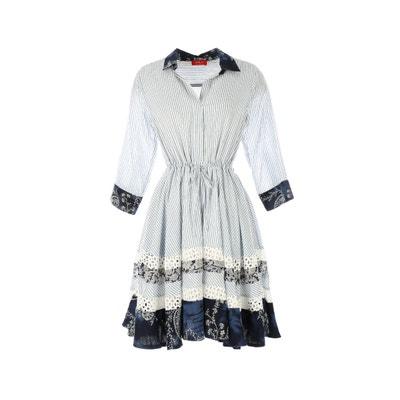 Striped Shirt Dress with Floral Print Detail RENE DERHY