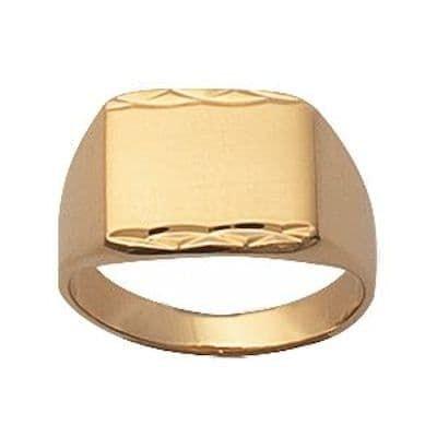 Bague Chevalière rectangulaire anneau Plaqué Or 750 Jaune SO CHIC BIJOUX