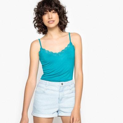 T-shirt met smalle schouderbandjes, V-hals met kant La Redoute Collections