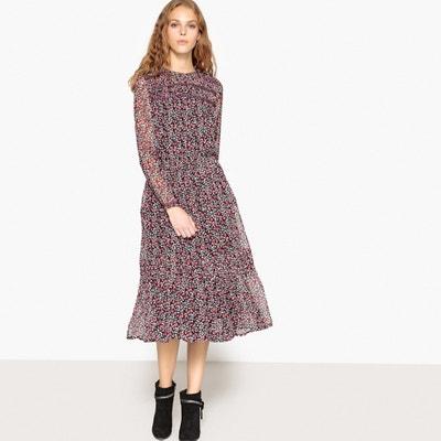 Платье с цветочным принтом и вышивкой на манжетах и спинке Платье с цветочным принтом и вышивкой на манжетах и спинке MADEMOISELLE R
