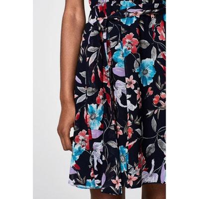 Bedrucktes, ärmelloses Kleid, Volants an den Schultern Bedrucktes, ärmelloses Kleid, Volants an den Schultern ESPRIT