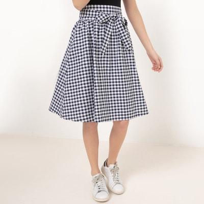 Gingham Knee-Length Skirt with Bow MADEMOISELLE R