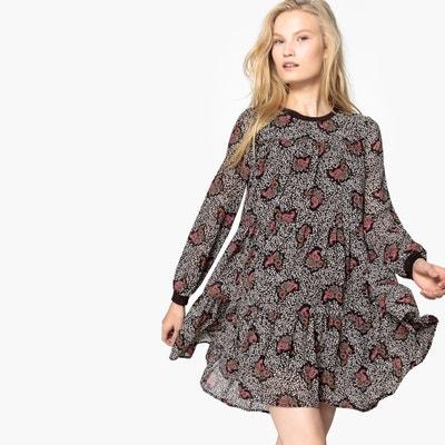 Wijde jurk, ronde hals, grafische print Wijde jurk, ronde hals, grafische print SEE U SOON