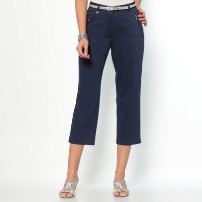 Pantaloni a pinocchietto straight, satin di cotone stretch ANNE WEYBURN