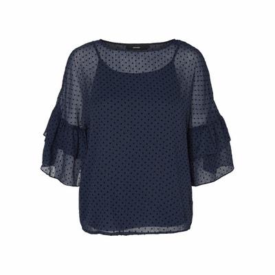 Effen blouse met ronde hals en lange mouwen VERO MODA