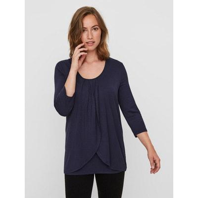 T-Shirt d'allaitement, manches 3/4 Jersey T-Shirt d'allaitement, manches 3/4 Jersey MAMA LICIOUS