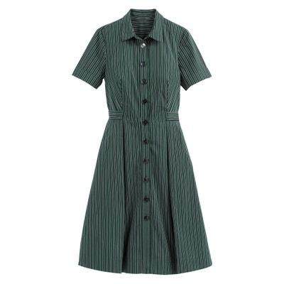 eee887c26234 Платье-рубашка в полоску средней длины с короткими рукавами Платье-рубашка  в полоску средней