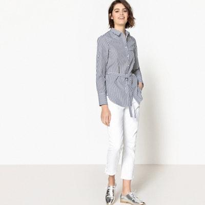 Gestreepte tuniek met lange mouwen, hemdskraag La Redoute Collections