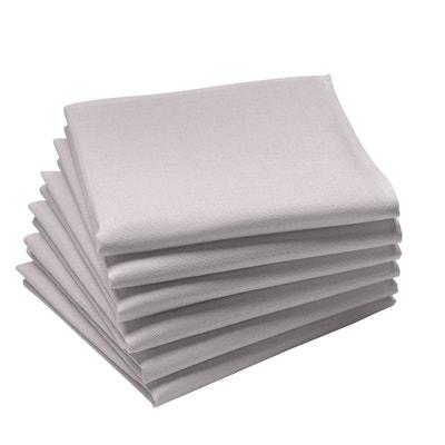 Lot de 6 serviettes de table unies en coton traité Teflon, Made in France Lot de 6 serviettes de table unies en coton traité Teflon, Made in France COUCKE