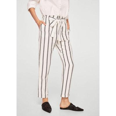 Pantalon lin à rayures Pantalon lin à rayures MANGO
