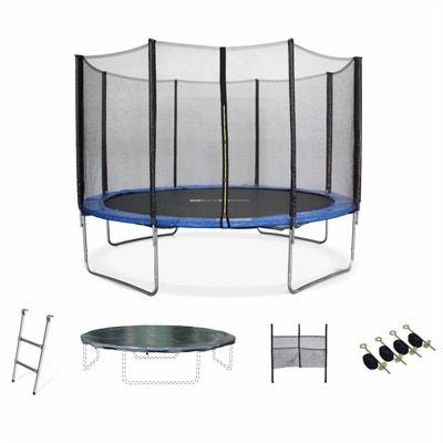 Trampoline de jardin Saturne XXL 370cm bleu, filet de protection, échelle, bâche, filet chaussures, kit d'ancrage 370 cm 3m ALICE S GARDEN