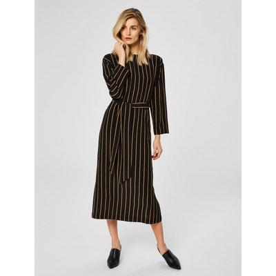 Robe mi-longue Rayures - SELECTED FEMME 7e81c250abdf