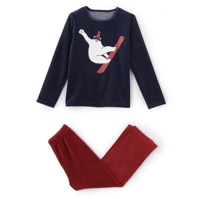 Pijama em veludo, estampado urso a particar esqui, 2-12 anos La Redoute Collections
