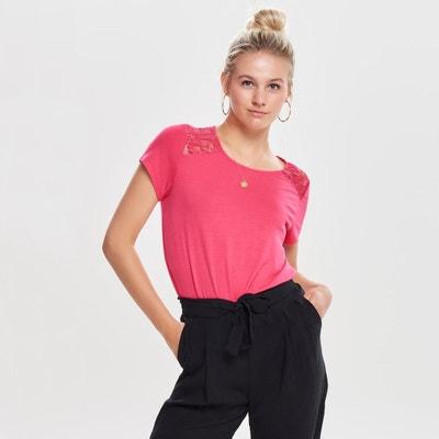 Short-Sleeved Crew Neck Lace T-Shirt Short-Sleeved Crew Neck Lace T-Shirt ONLY