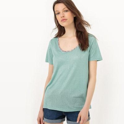 Tee-shirt, manches courtes, perles à l'encolure Tee-shirt, manches courtes, perles à l'encolure LPB WOMAN