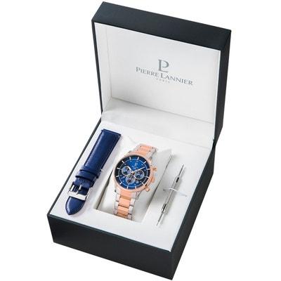 Coffret Montre en Acier et Bracelet en Cuir Bleu Coffret Montre en Acier et Bracelet en Cuir Bleu PIERRE LANNIER