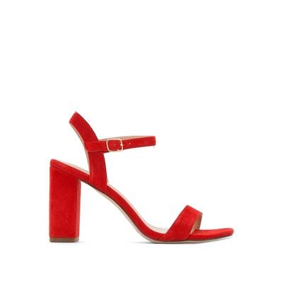 Sandálias em pele aveludada, com tacão, Gisele JONAK