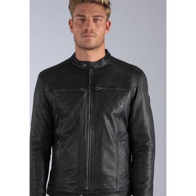 Veste cuir zippée style motard GREG KAPORAL ef7e14ddc70e
