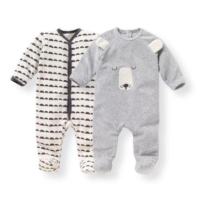 Lot de 2 pyjamas naissance en velours 0 mois-3 ans Lot de 2 pyjamas naissance en velours 0 mois-3 ans LA REDOUTE COLLECTIONS