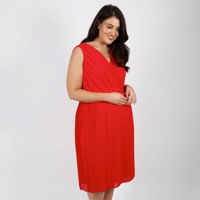 Pleated V-Neck Dress LOVEDROBE
