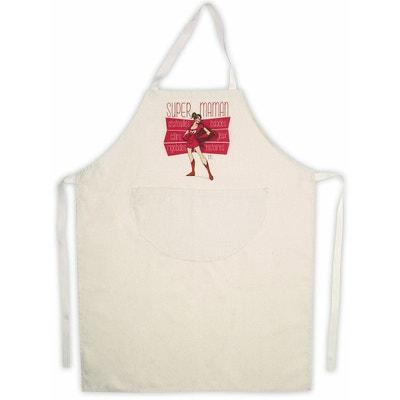 Tablier de cuisine femme beige en coton Super Maman Tablier de cuisine femme beige en coton Super Maman RIGOLOBO