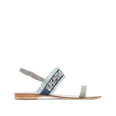 Sandales cuir détail perles La Redoute Collections