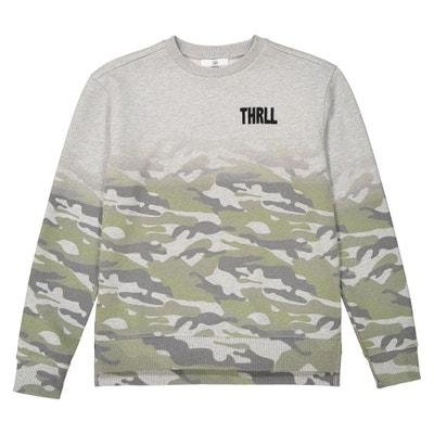 Sweater met ronde hals en camouflageprint, 10-16 jr Sweater met ronde hals en camouflageprint, 10-16 jr La Redoute Collections