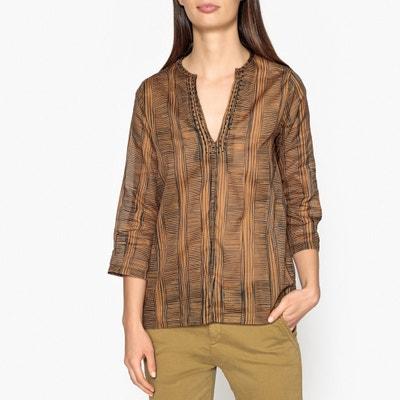 Блузка с круглым вырезом с разрезом спереди TIBETA Блузка с круглым вырезом с разрезом спереди TIBETA DIEGA