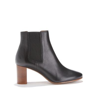 Boots in kalfsleer met hoge hak en elastiek Boots in kalfsleer met hoge hak en elastiek RIVECOUR