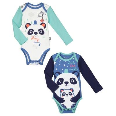 Lot de 2 bodies manches longues bébé garçon Pandalapin Lot de 2 bodies  manches longues bébé. PETIT BEGUIN 96d11e7a740