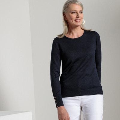 Pullover mit rundem Ausschnitt, uni, 50% Merinowolle Pullover mit rundem Ausschnitt, uni, 50% Merinowolle ANNE WEYBURN