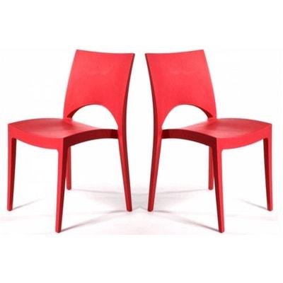 84444f8ee22428 Lot de 2 Chaises Design Rouges DELHI Lot de 2 Chaises Design Rouges DELHI  DECLIKDECO