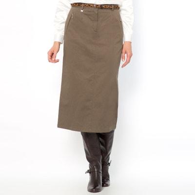 Stretch Cotton Satin Skirt, Length 75cm ANNE WEYBURN