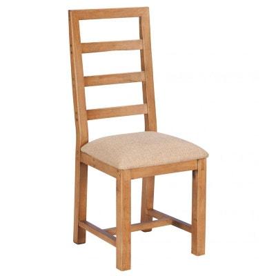 Chaise salle a manger bois et tissu   La Redoute