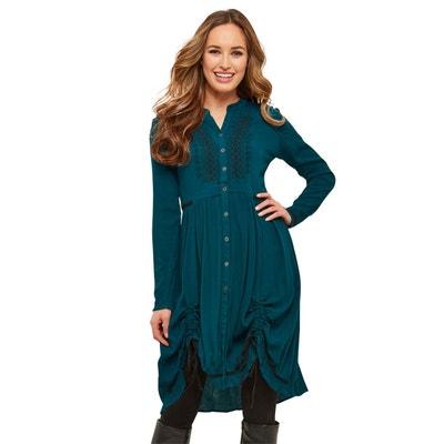 Robe-chemise longue en tissu froissé Robe-chemise longue en tissu froissé JOE BROWNS