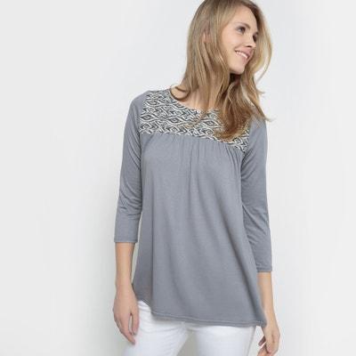 Camiseta con plastrón jacquard Camiseta con plastrón jacquard La Redoute Collections