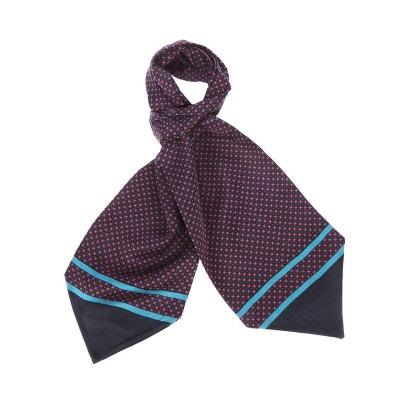 Foulard Ascot à nouer en soie marine à motifs carrés s et points s TOUCHE  FINALE 0195c63eb72