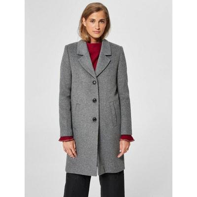 Manteau laine femme officier gris en solde   La Redoute 08b8e9653026