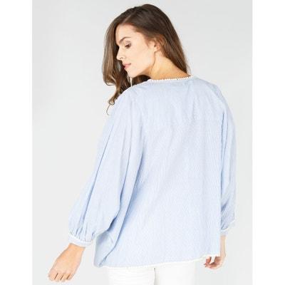 Gestreepte blouse met borduursels en 3/4 mouwen RENE DERHY