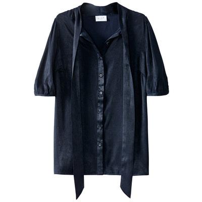 Blouse  col polo,  chemise uni, manches courtes VILA