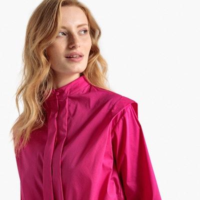 Pleated Mandarin Collar Cotton Mix Shirt Pleated Mandarin Collar Cotton Mix Shirt La Redoute Collections