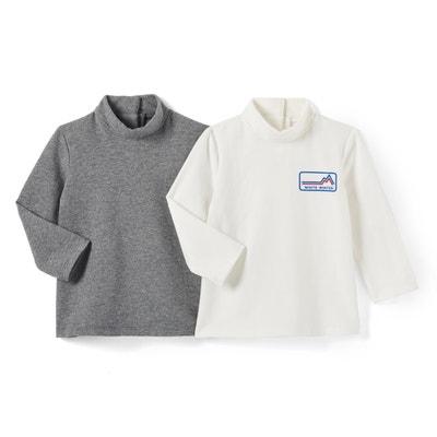 Set van 2 T-shirts met rolkraag, 1 mnd-3 jr La Redoute Collections