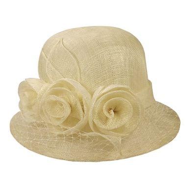 chapeau ceremonie beige clair CHAPEAU-TENDANCE