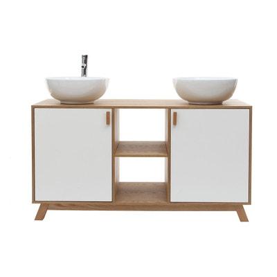 Meuble de salle de bain   2 vasques 2 portes chêne clair et blanc et  miroir. MILIBOO 352bf6617959